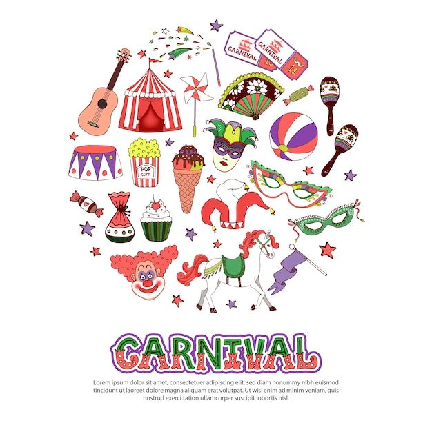 Carnival elements template in flat style Free Vector