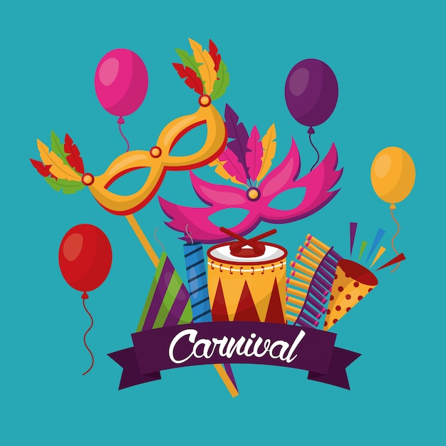 Carnival festive card Free Vector