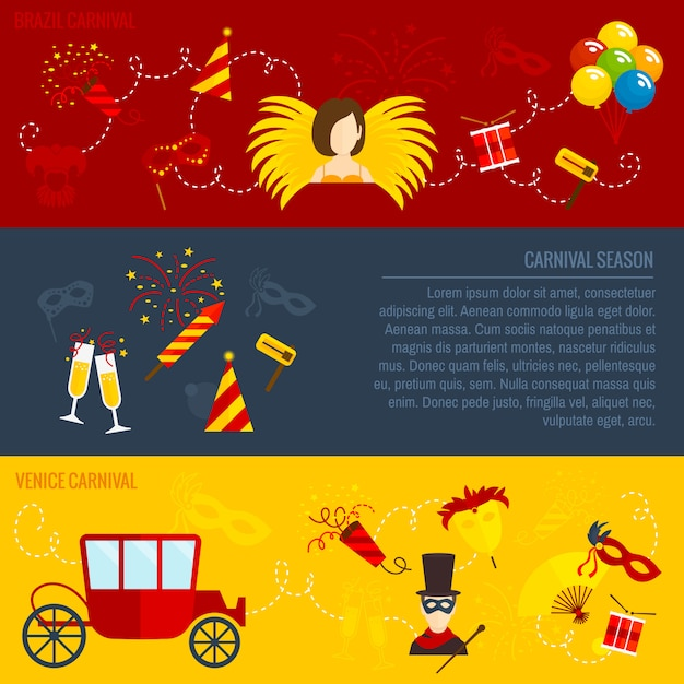 Carnival flat banners set Free Vector