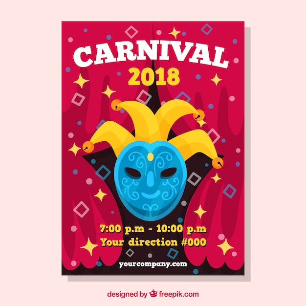 carnival flyer template with blue mask free vector