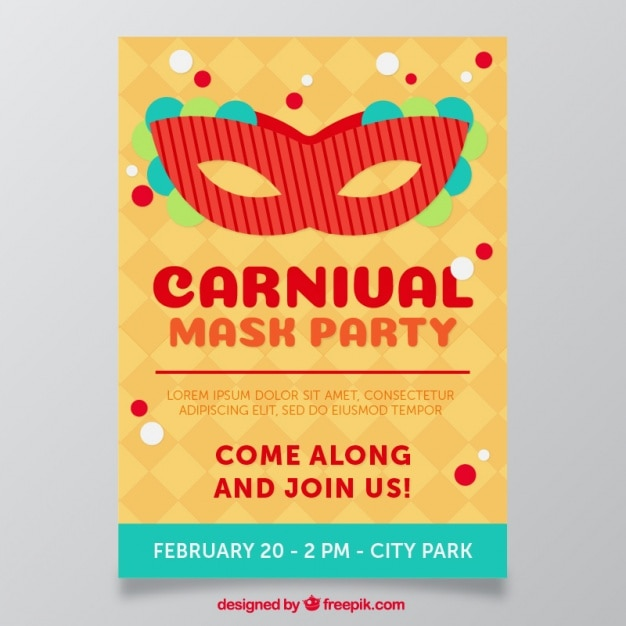 Carnival flyer with mask Free Vector