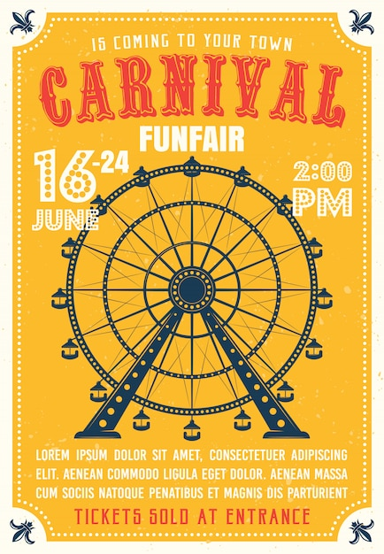 Carnival, funfair colored poster in flat style with ferris wheel from amusement parks Premium Vector