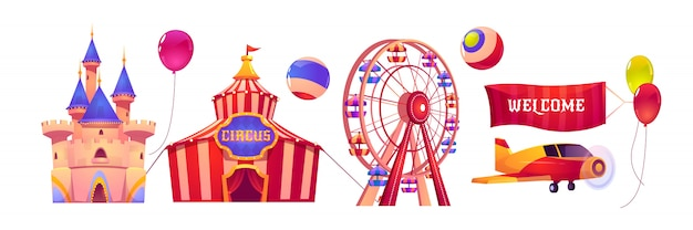 Carnival funfair with circus tent and ferris wheel Free Vector