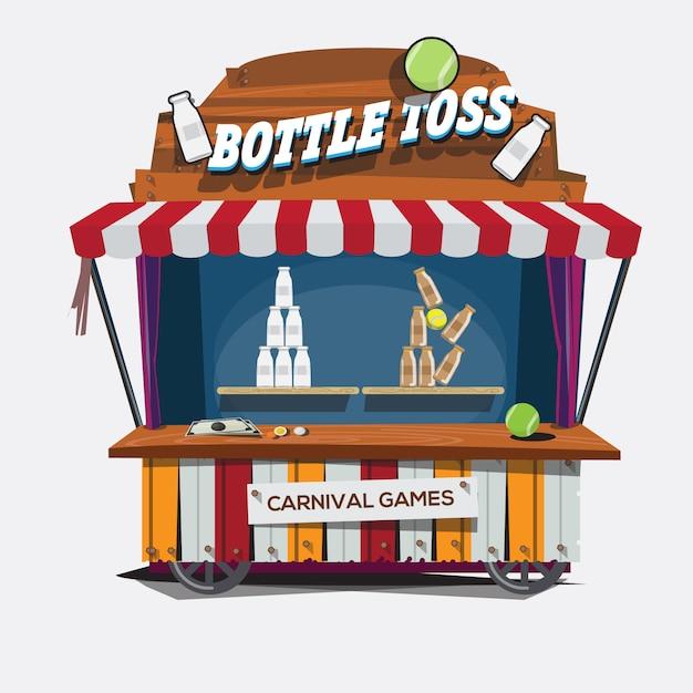 Carnival game. milk bottle toss. Premium Vector