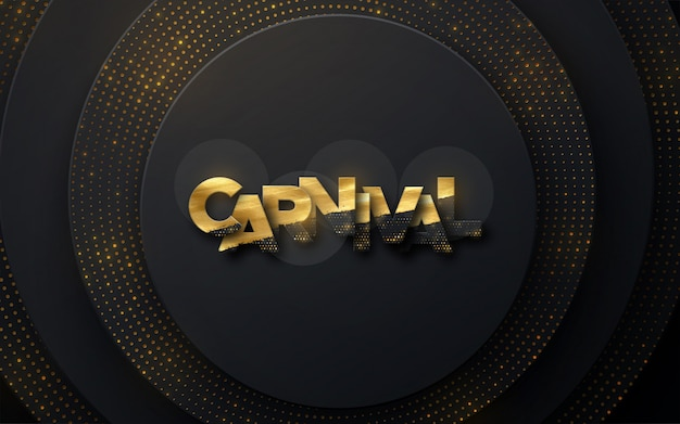 Carnival golden sign on black paper background. layered decoration textured Premium Vector