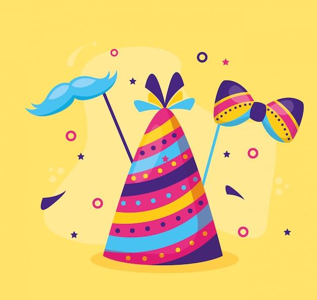 Papillon da festa con cappello di carnevale Vettore gratuito