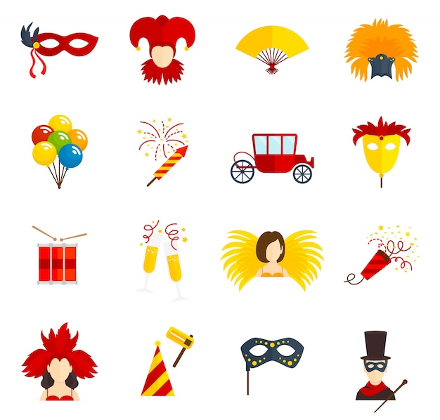 Carnival icons set flat Free Vector