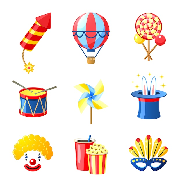 Carnival icons set Free Vector