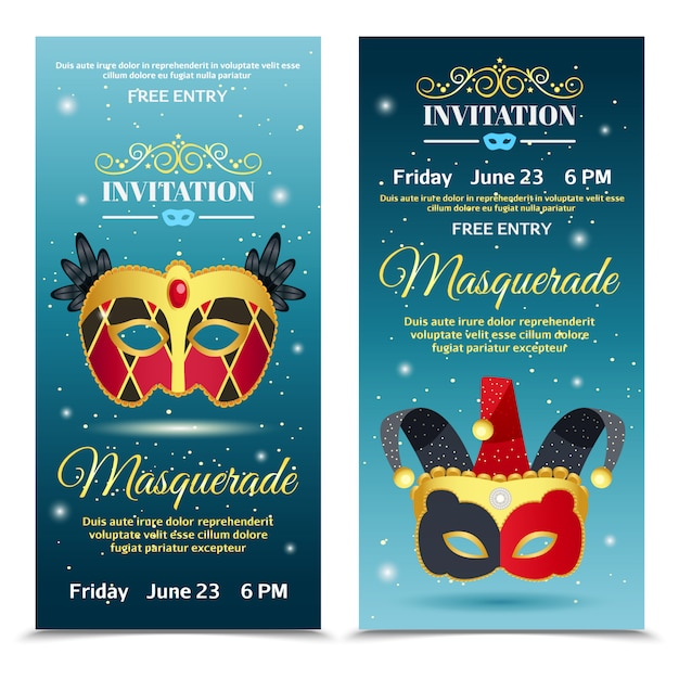 Carnival invitation vertical banners Free Vector