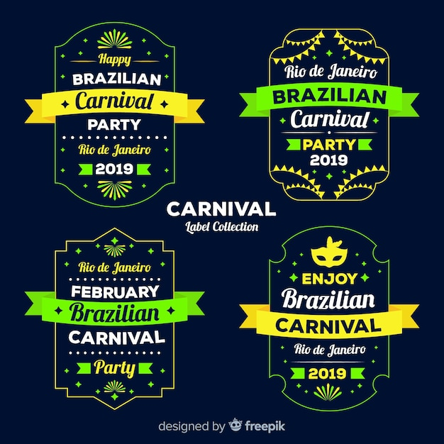 Carnival label collection Free Vector