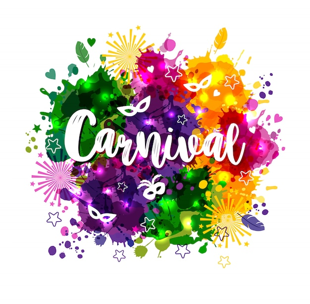 Carnival mardi gras on multicolors watercolor stains Premium Vector
