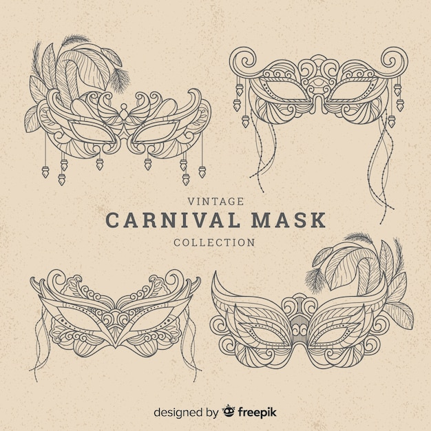 Carnival mask collection Free Vector