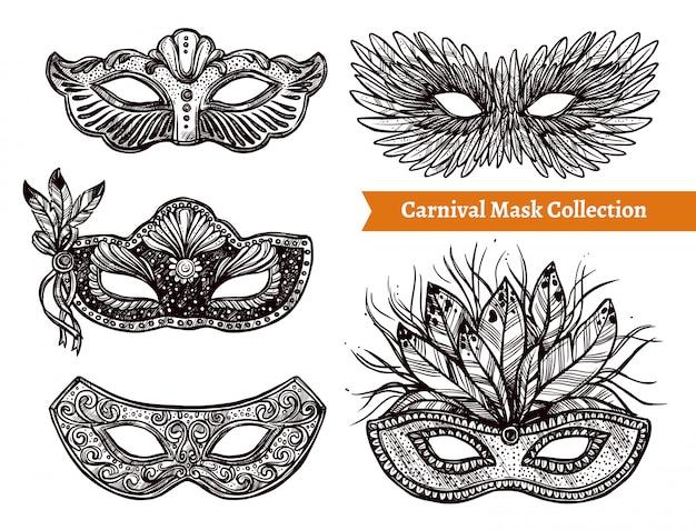 Carnival mask hand drawn set Free Vector
