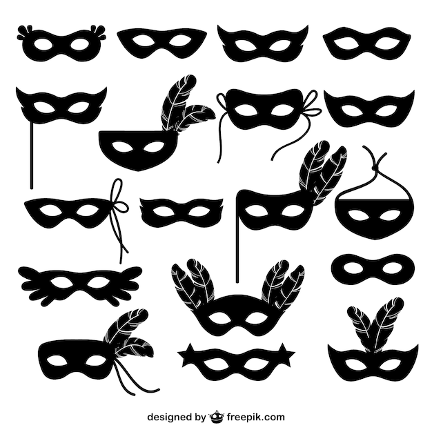 Carnival mask icons collection Free Vector