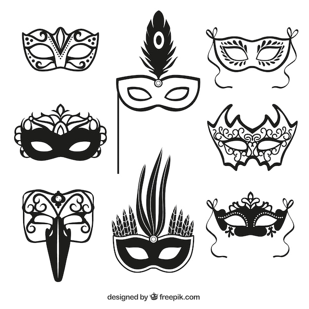 Carnival mask icons Free Vector