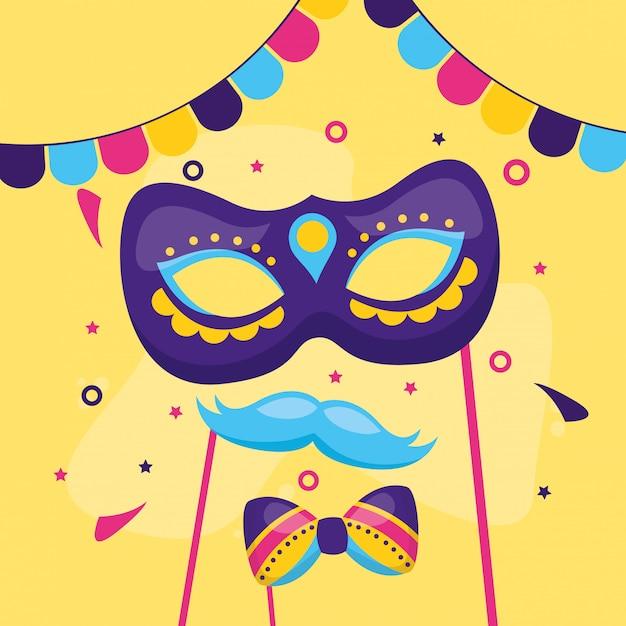 Papillon baffi maschera di carnevale Vettore gratuito