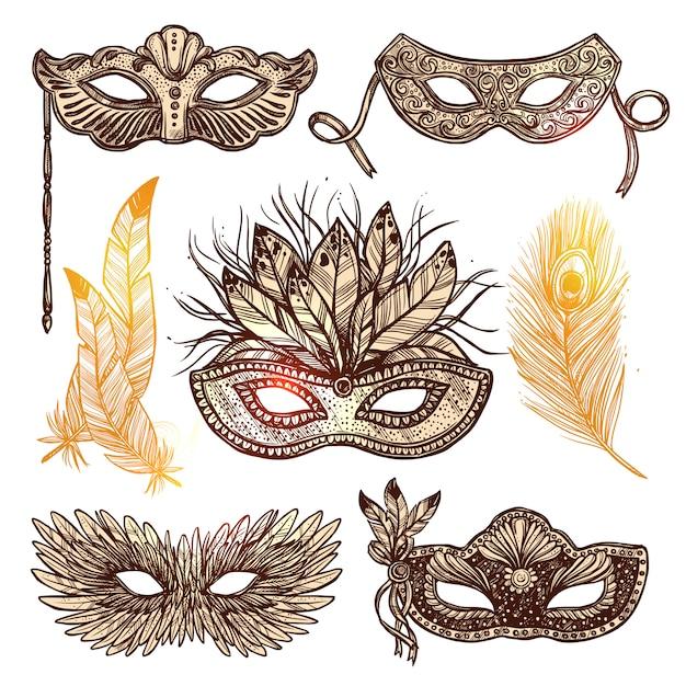 Carnival mask sketch set Free Vector