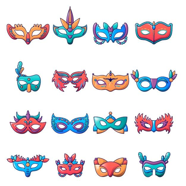 Carnival mask venetian icons set Premium Vector