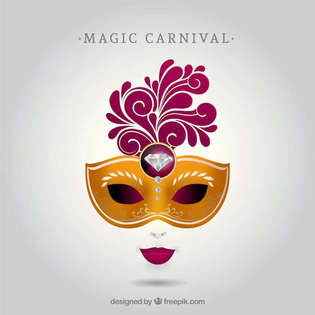 Carnival Mask With Diamond Free Vector