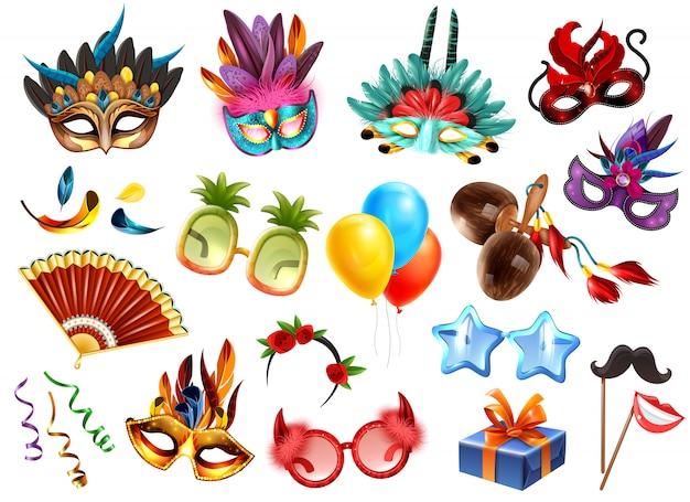 L'insieme variopinto realistico degli accessori degli attributi di celebrazione di festival di travestimento di carnevale con i presente maschera l'illustrazione di vettore dei palloni delle piume di vetro delle maschere Vettore gratuito