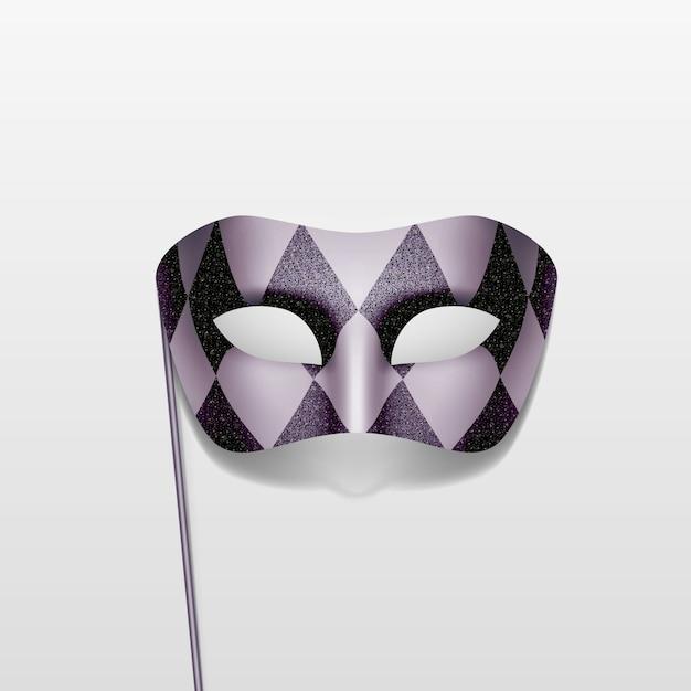 Карнавальная маскарадная маскарадная маска на палочке Premium векторы