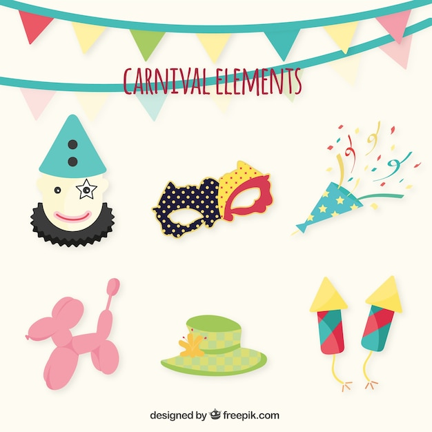 Carnival ornaments pack Free Vector