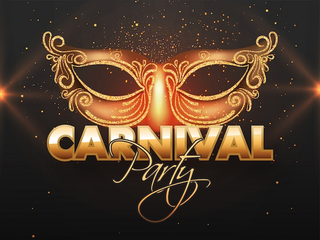 Carnival party banner  with glittering mask. Premium Vector