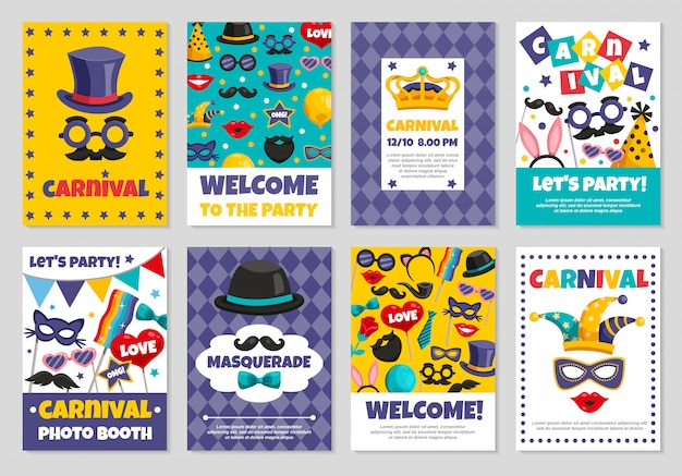 Carnival party banners Free Vector