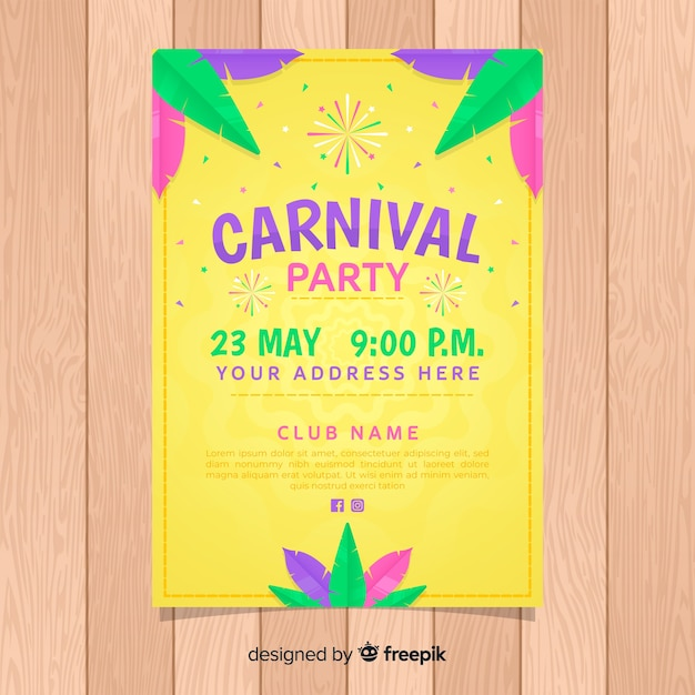 carnival party flyer template vector free download
