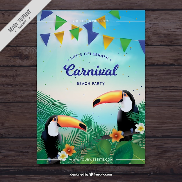 Carnival party flyer with toucans Free Vector