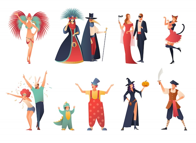 Carnival party icons set Free Vector