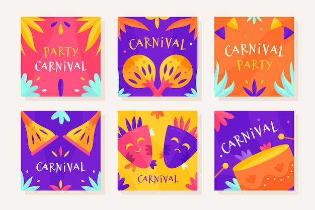 Carnival party instagram post collection Free Vector