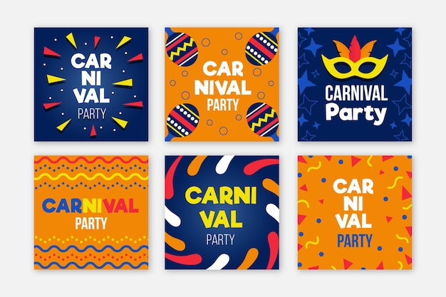 Carnival party instagram posts collection Free Vector