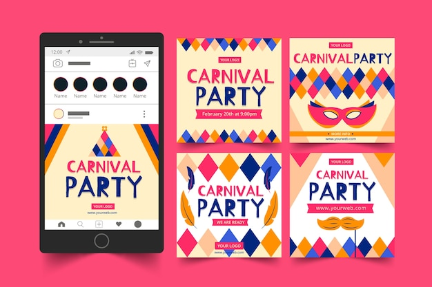 Carnival party instagram posts concept Free Vector