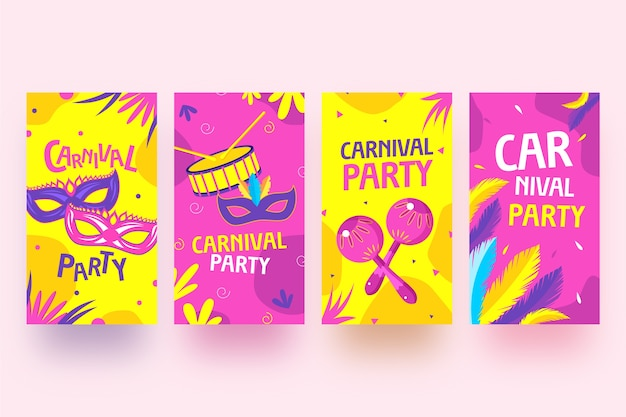 Carnival party instagram stories collection Free Vector