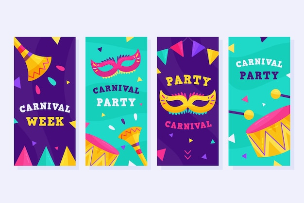 Carnival party instagram stories set Free Vector