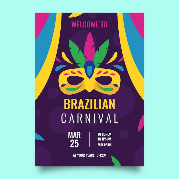 Carnival party poster flat design Vector | Free Download
