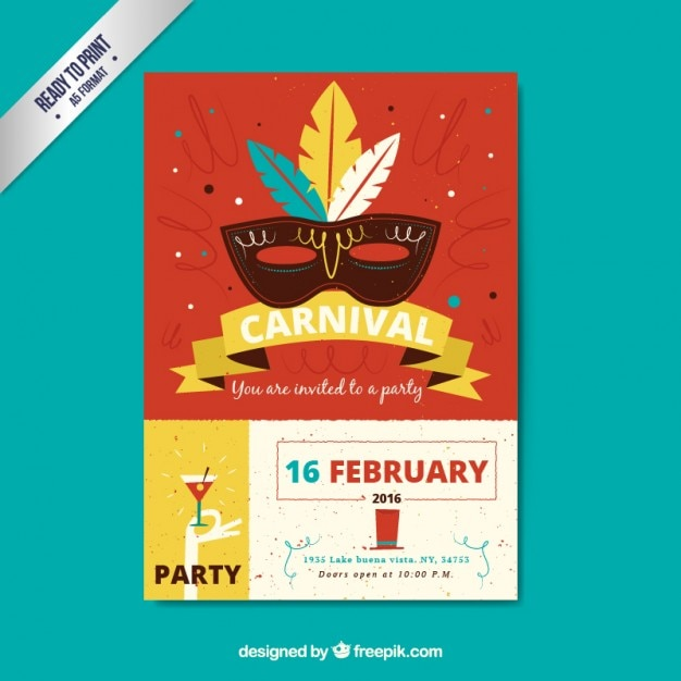 Carnival party poster in retro style Vector | Free Download