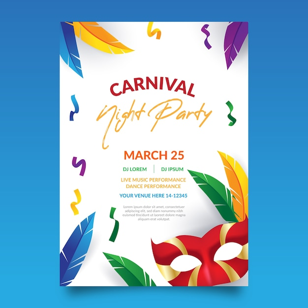 Carnival party poster with colourful feathers Free Vector