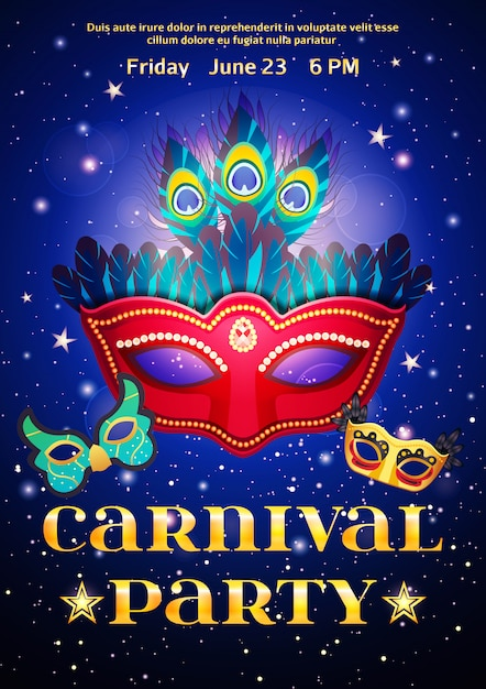 Carnival party poster with date of event Free Vector