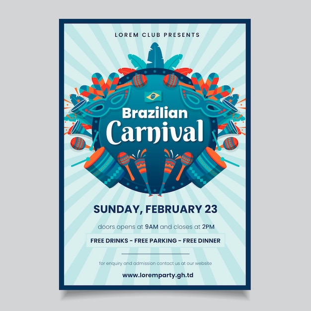 Carnival party poster with music instruments Free Vector