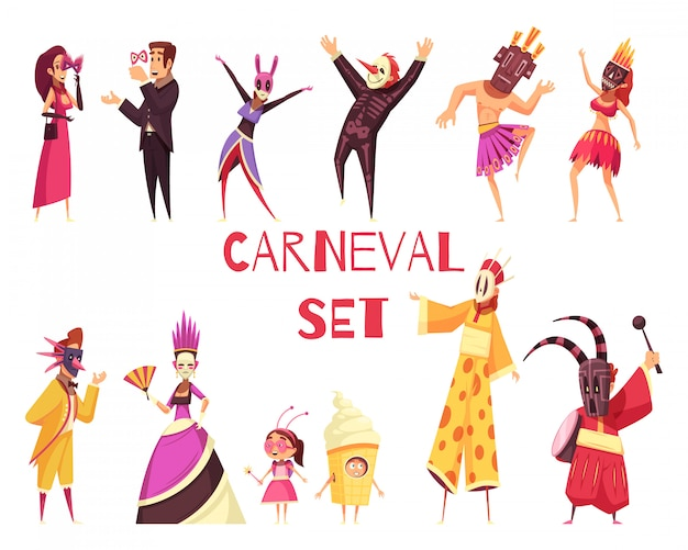 Carnival party set Free Vector