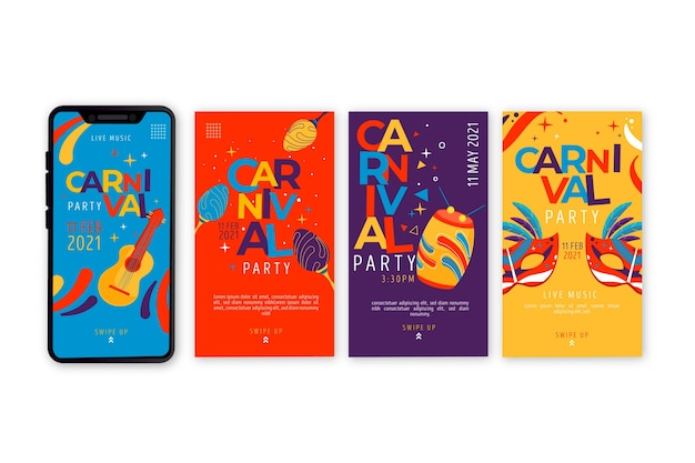 Carnival party social media stories collection Free Vector