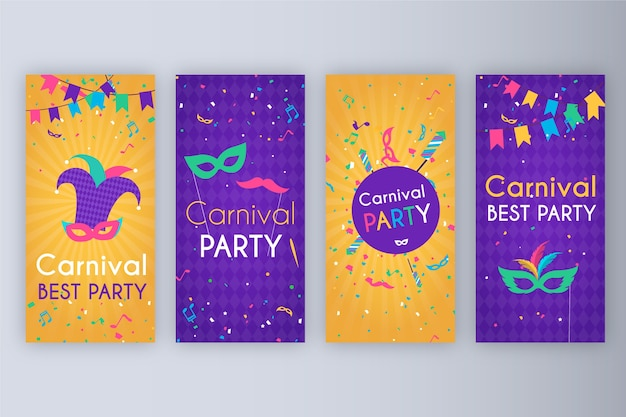 Carnival party stories collection Free Vector