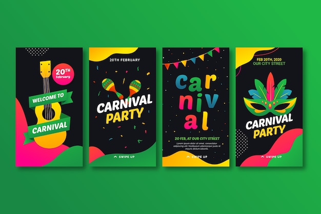 Carnival party stories for instagram Free Vector