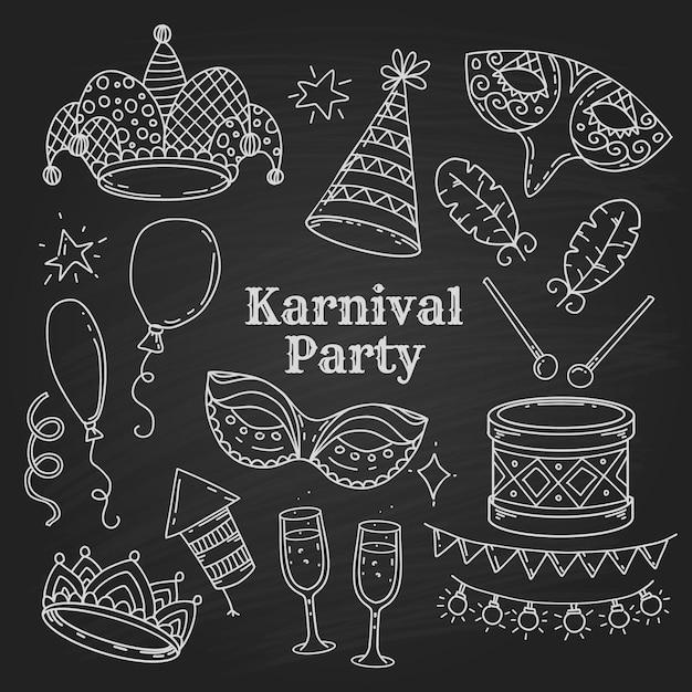 Карнавальные символы вечеринки в стиле каракули на черном фоне, коллекция карнавальных элементов Premium векторы