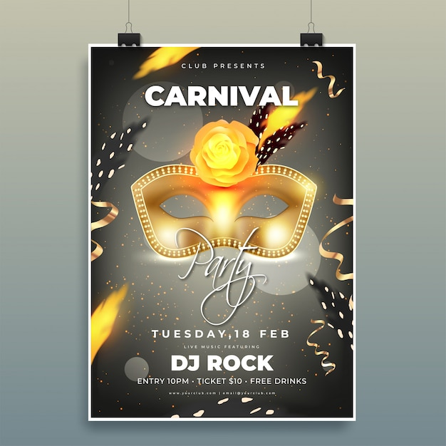 Carnival party template or dance flyer design with illustration Premium Vector