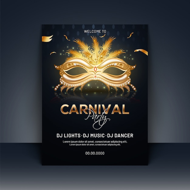 Carnival party template or invitation card design with realistic Premium Vector