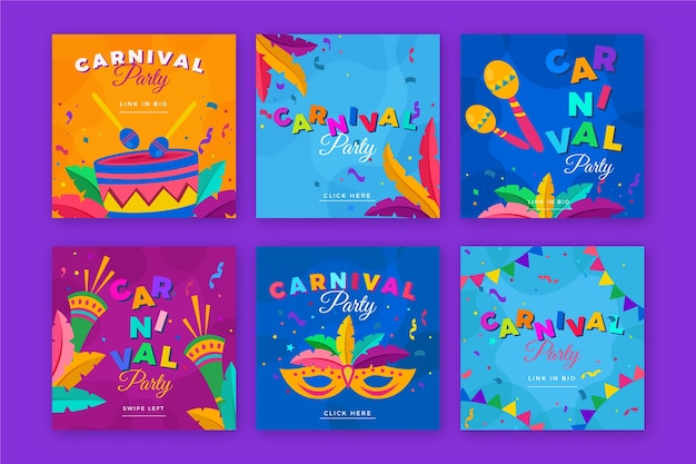Carnival party theme for instagram post collection Free Vector