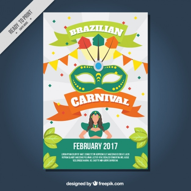 Carnival poster of brazil with elements Vector | Free Download